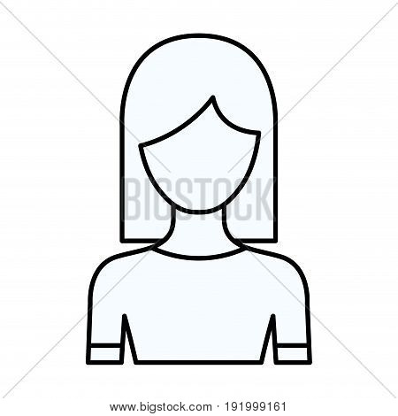 sketch silhouette of faceless half body woman with straight medium hairstyle vector illustration