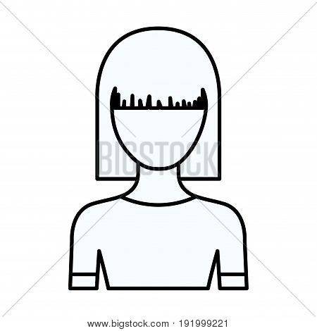 sketch silhouette of faceless half body young woman with straight medium hairstyle vector illustration
