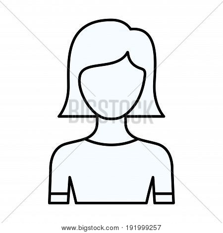 sketch silhouette of faceless half body young woman with straight short hairstyle vector illustration
