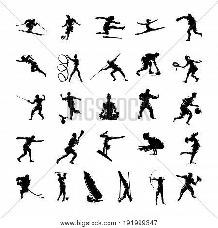 Set of vector silhouettes drawn of people in sports. Vector Illustration.. Collection set