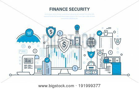 Finance secure and payment security, protection, cash deposits, purchases and money transfers, analysis of finance. Illustration thin line design of vector doodles, infographics elements.