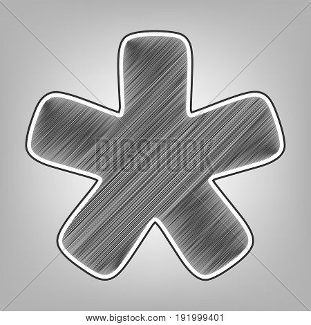 Asterisk star sign. Vector. Pencil sketch imitation. Dark gray scribble icon with dark gray outer contour at gray background.