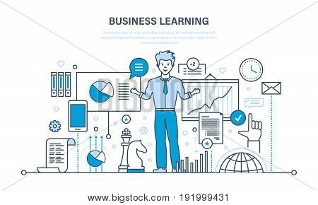 Business learning, online education, training, distance learning, technology, knowledge, teaching and working. Illustration thin line design of vector doodles, infographics elements.