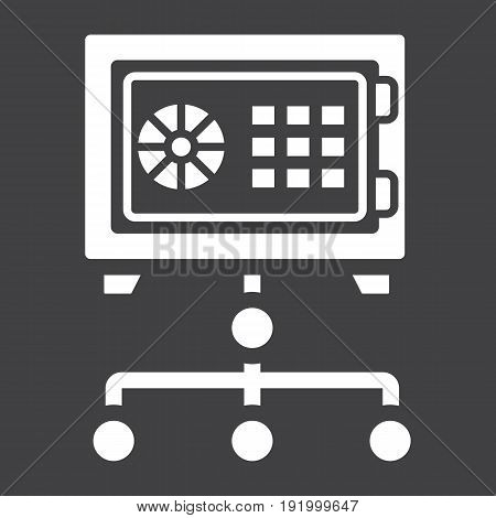 Network safe vault solid icon, security and strongbox, vector graphics, a glyph pattern on a black background, eps 10.