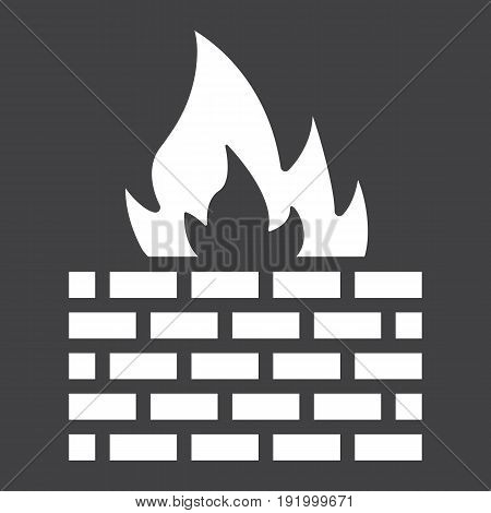 Firewall solid icon, security and brick wall, vector graphics, a glyph pattern on a black background, eps 10.