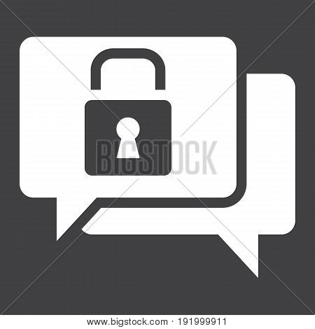 Encrypted Messaging line icon, security and padlock, chat vector graphics, a linear pattern on a white background, eps 10.