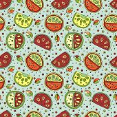 Seamless vector hand drawn childish pattern with fruits. Cute childlike watermelon with leaves seeds drops. Doodle sketch cartoon style background. Line drawing Endless repeat swatch poster