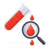 Hematology concept with red blood cell in test tube, magnifying glass and drop blood, vector illustration in flat style poster