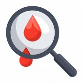 Hematology concept with blood drop and magnifying glass, vector illustration in flat style poster