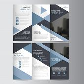 Blue triangle business trifold Leaflet Brochure Flyer report template vector minimal flat design set abstract three fold presentation layout templates a4 size poster