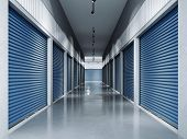 Storage facilities with blue doors. Interior units. 3d rendering poster