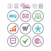 Information, report and calendar signs. Internet, seo icons. Tick, online shopping and chart signs. Bandwidth, mobile device and chat symbols. Phone call symbol. Classic simple flat web icons. Vector poster