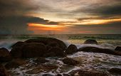 Tropical sunset. Karon  beach. Phuket island. Kingdom Thailand poster