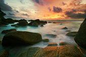 After tropical sunset. Karon beach. Phuket island. Kingdom Thailand poster