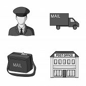 The postman in uniform, mail machine, bag for correspondence, postal office.Mail and postman set collection icons in monochrome style vector symbol stock illustration . poster