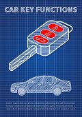 Car key functions vector illustration. Auto key features: locking unlocking tailgate blue print creative concept. poster