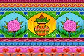 Vector design of Floral Kitsch background in Indian Truck Art style poster