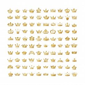 Vector collection of creative king and queen crowns silhouette or logo elements. Set of Geometric vintage crown