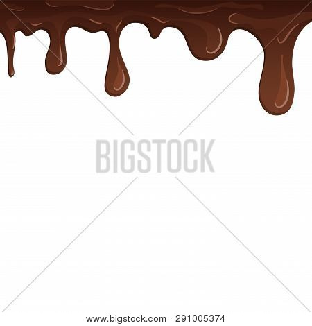 Dripping Chocolate. Drips Chocolate, Isolated White Background. Melt Fluid Sweet Dessert. Tasty Spla