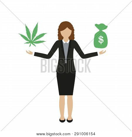 Business Woman Character Makes Money With Cannabis Isolated On White Background Vector Illustration
