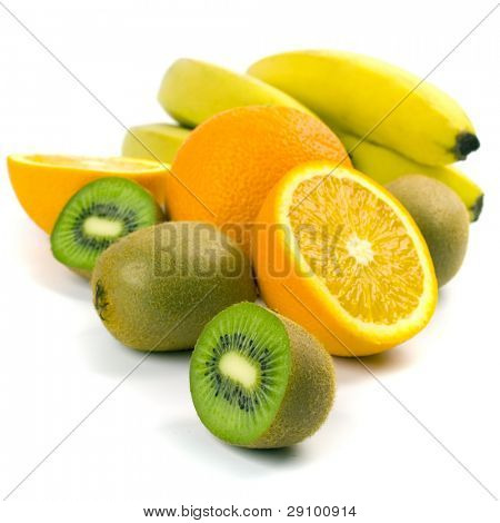 kiwi, oranges and bananas sloseup on white