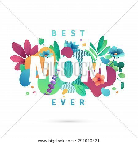Modern Template Design For Mom Day Banner. Promotion Layout For Mothers Day Offer With Flower Decora