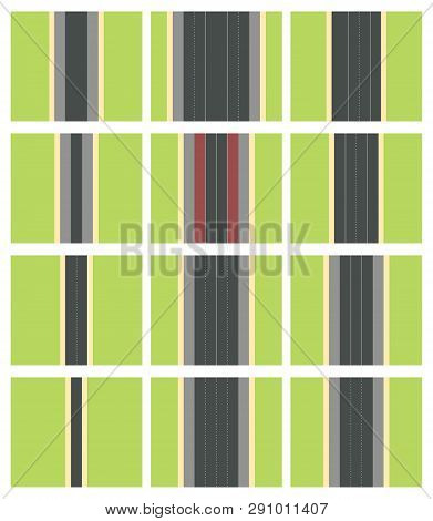 Set Of Seamless Road Types. Highway Top View. Vector