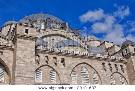 A view of the majestic Suleiman Mosque in Istanbul Turkey. poster
