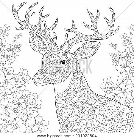 Coloring Page. Coloring Book. Anti Stress Colouring Picture With Deer And Spring Flowers. Freehand S