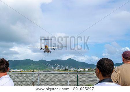 Philipsburg, St Maarten - November 16, 2018: Liat V2-lib Aircraft, An Atr 72-600 Regional Airliner,