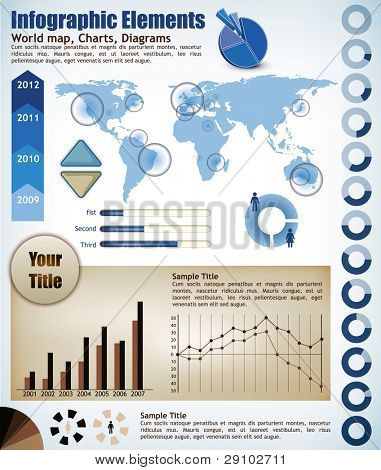Collection Infographic elements, a wold map with placeholders, charts, diagrams