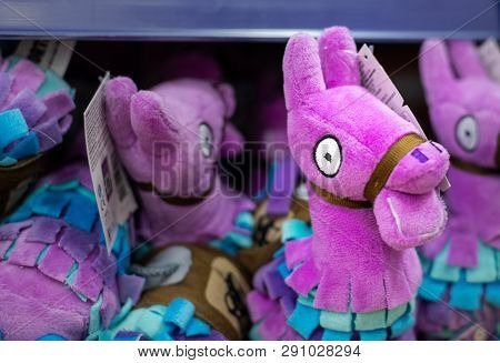 Sheffield, Uk - 23rd March 2019: A Fornite Llama Toy Teddy For Sale In A Kids Store Inside A Shoppin