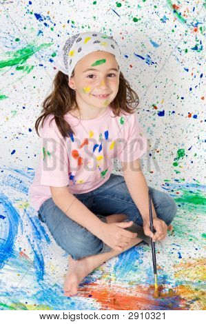 Girl Playing With Painting