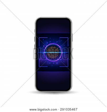Mobile Phone With Lock Screen And Fingerprint Scanner For Verification. Vector Illustration
