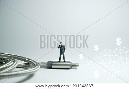Businessman Figure Standing On Usb Usb Type C Cable. E Commerce Concept.
