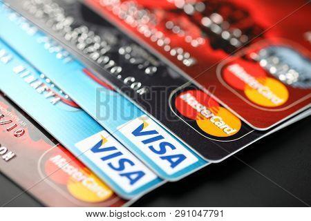 Tambov, Russian Federation - September 11, 2012 Visa And Mastercard Logos On Credit Cards. Studio Sh