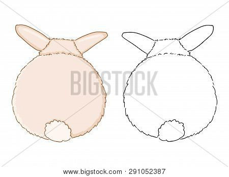 Rabbit Backside For Coloring Page For Children. Funny Illustration Of Cute Rabbit Tail On White Back