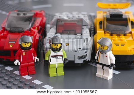 Tambov, Russian Federation - March 14, 2015 Lego Drivers Minifigures By Lego Speed Champions And His