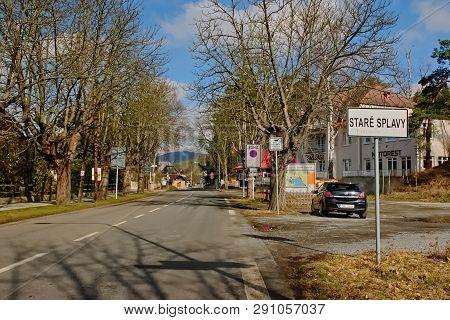 Stare Splavy, Czech Republic - March 06, 2019: Black Car Opel Astra Stand In Village Of Machuv Kraj