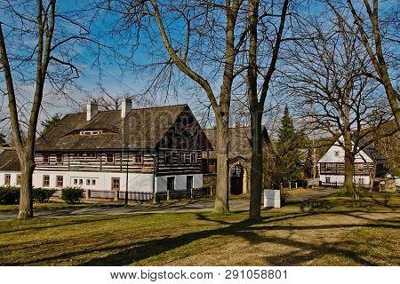 Stare Splavy, Czech Republic - March 06, 2019: Cottages In Village Of Machuv Kraj Region