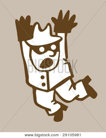 bandit silhouette on brown background, vector illustration