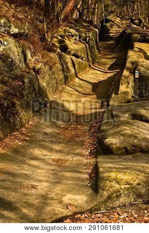 Rock Path Near Machovo Jezero Lake In Czech Tourist Region Of Machuv Kraj
