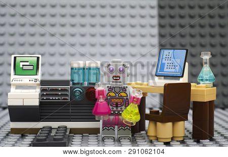 Tambov, Russian Federation - July 06, 2016 Lego Robot - Scientist Minifigure With Flasks In Laborato