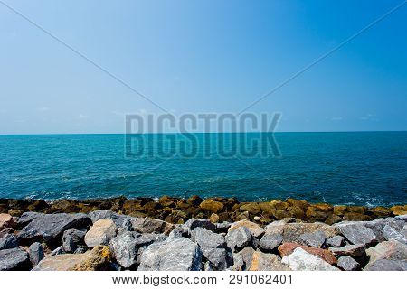 Sea Beach Blue Sky Sand Sun Daylight Relaxation Landscape Viewpoint For Design Postcard And Calendar