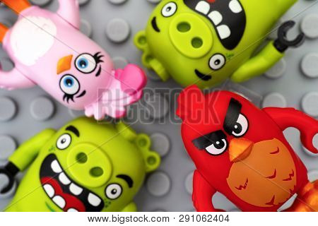 Tambov, Russian Federation - May 12, 2016 Lego Angry Birds. Red, Stella And Two Bad Piggies On Lego