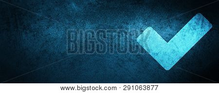 Validate icon isolated on special blue banner background abstract illustration poster