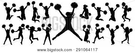 Silhouettes Of Cheerleading Dancers (jumping And Standing) With Pompoms, Isolated Set Of Icons.vecto