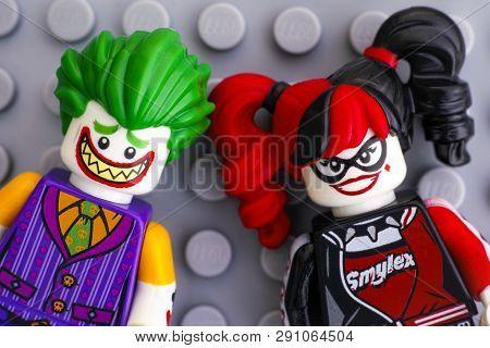 Tambov, Russian Federation - February 11, 2017 Two Lego Batman Movie Minifigures -  The Joker And Ha