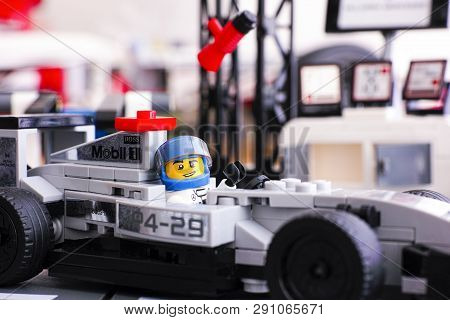 Tambov, Russian Federation - June 24, 2015: Lego Driver Sitting In Mclaren Mercedes Mp4-29 Race Car