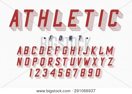 Athletic Font, Varsity And College Alphabet. Original Letters And Numbers For Sportswear, T-shirt, U